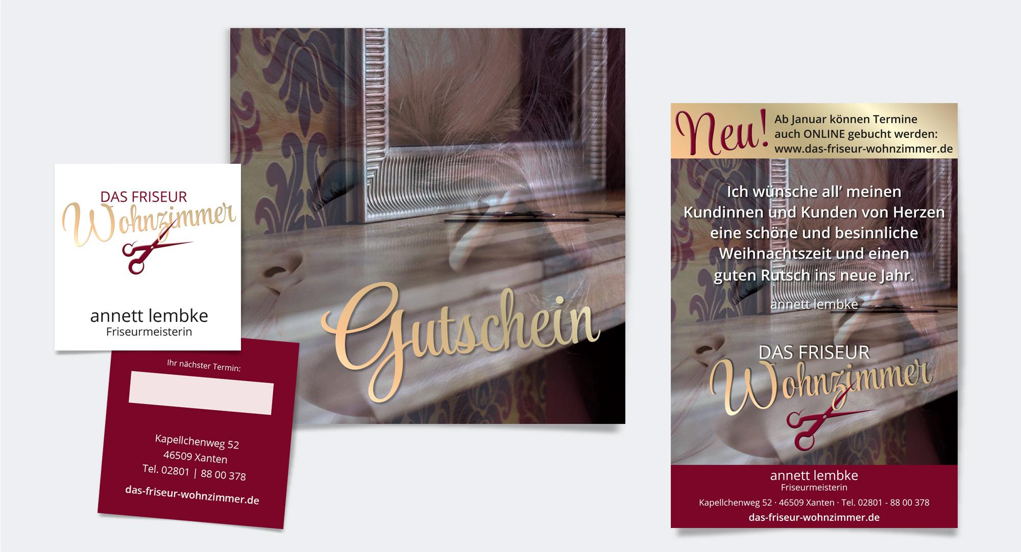 Das Friseurwohnzimmer, Annett Lembke – Visitenkarte, Gutschein, Anzeige