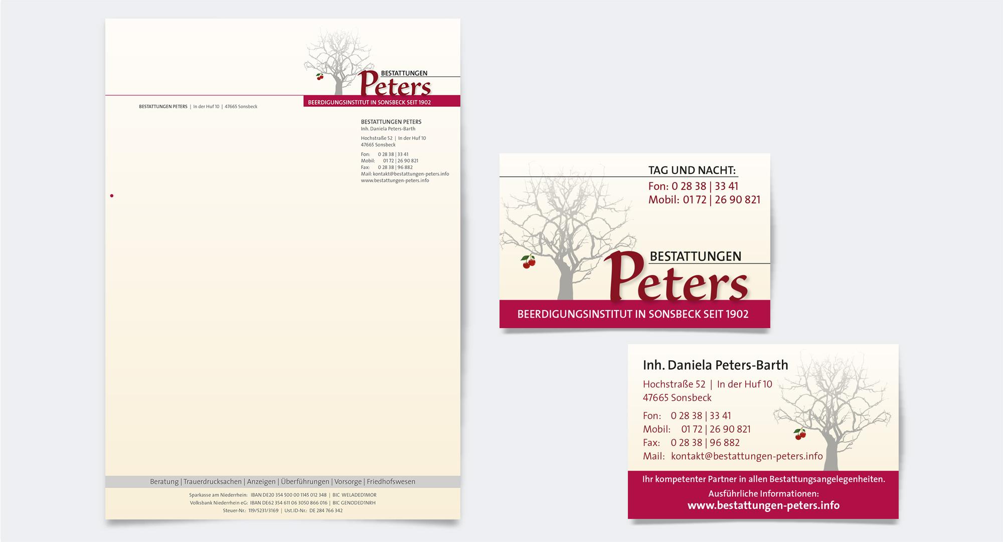 Bestattungen Peters – Geschäftsausstattung