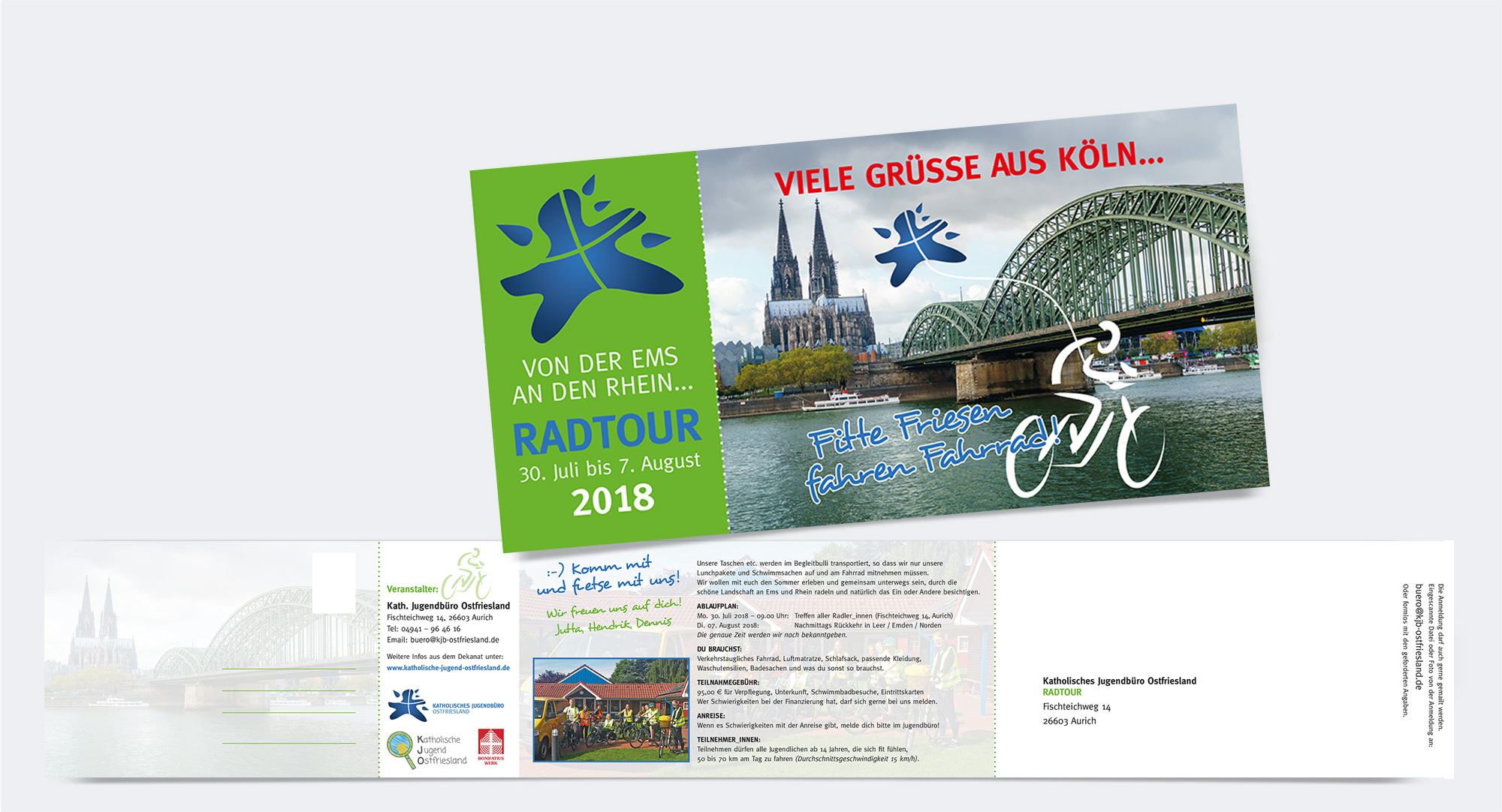 Katholische Jugend Ostfriesland – Flyer für eine Radtour, inkl. Postkarte