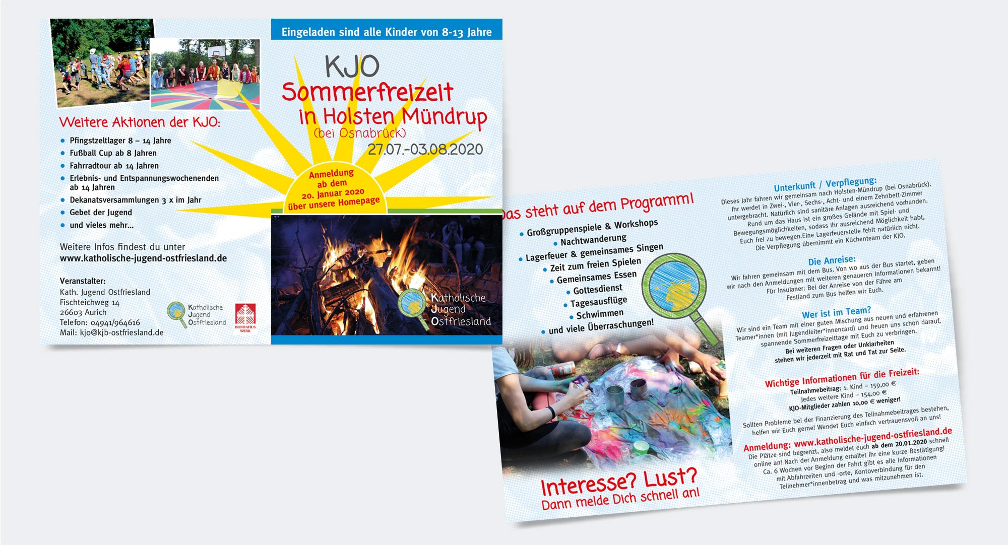 Katholische Jugend Ostfriesland, Flyer für die Sommerfreizeit 2020