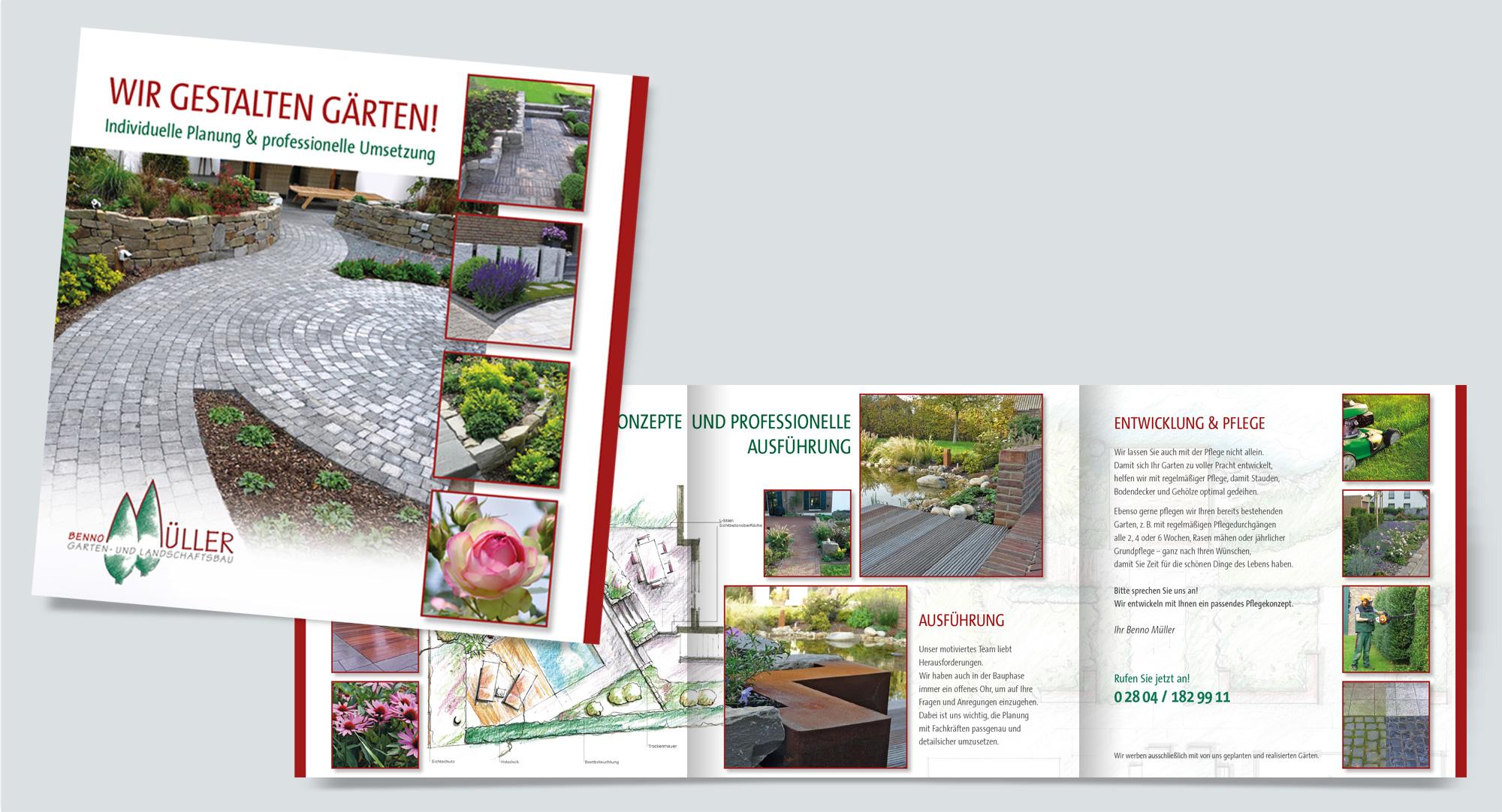 Garten- und Landschaftsbau Benno Müller – Faltbroschüre Planung