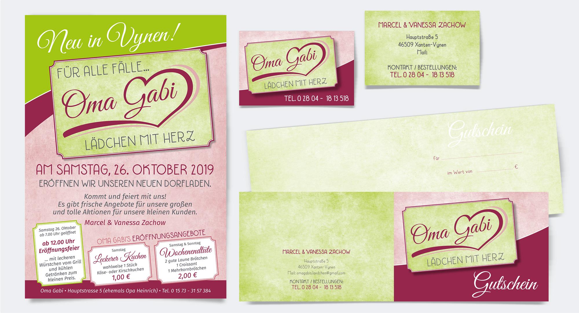 Oma Gabi, Dorfladen in Xanten-Vynen – Plakat, Visitenkarte, Gutschein